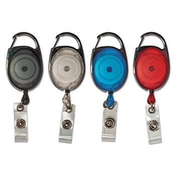 "Advantus Carabiner-Style Retractable ID Card Reel, 30"" Extension, Assorted Colors, 20/PK"