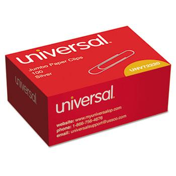 Universal® Smooth Paper Clips, Wire, Jumbo, Silver, 1000/Pack