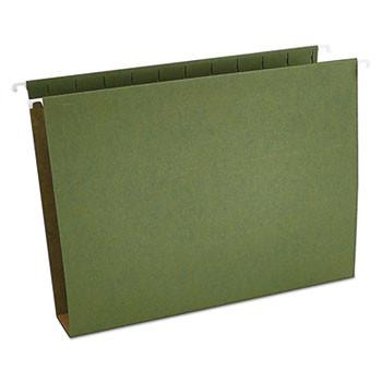 Two Inch Box Bottom Pressboard Hanging Folder, Letter, Standard Green, 25/Box