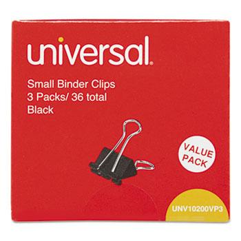 "Universal® Small Binder Clips, 3/8"" Capacity, 3/4"" Wide, Black, 36/Pack"