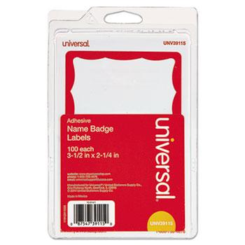 Universal® Border-Style Self-Adhesive Name Badges, 3 1/2 x 2 1/4, White/Red, 100/Pack
