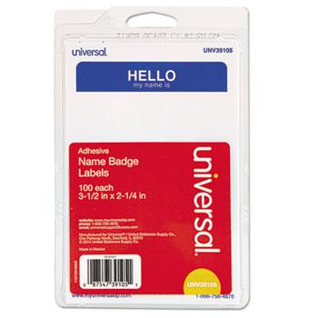 "Universal® ""Hello"" Self-Adhesive Name Badges, 3 1/2 x 2 1/4, White/Blue, 100/Pack"