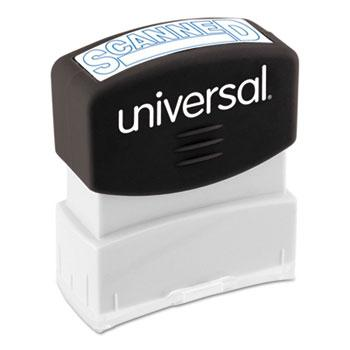 Universal® Message Stamp, SCANNED, Pre-Inked One-Color, Blue