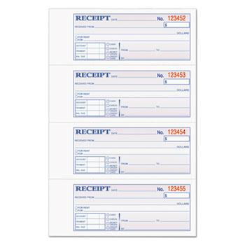 TOPS™ Money/Rent Receipt Books, 2-3/4 x 7 1/8, Three-Part Carbonless, 100 Sets/Book