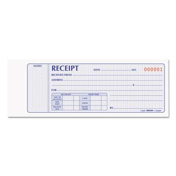 Rediform® Receipt Book, 2 3/4 x 7, Carbonless Duplicate, 100 Sets/Book