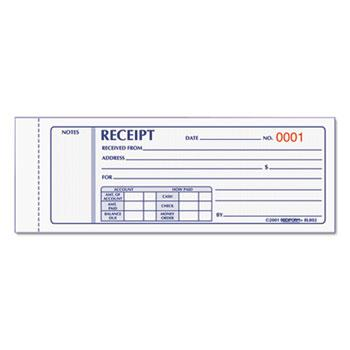 Rediform® Receipt Book, 2 3/4 x 7, Carbonless Triplicate, 50 Sets/Book