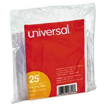 "Universal® Hanging File Folder Plastic Index Tabs, 1/3 Tab Cut, 3 1/2"" Tab, Clear, 25/Pack"