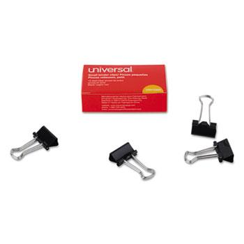 "Universal® Small Binder Clips, 3/8"" Capacity, 3/4"" Wide, Black, 12/Box"