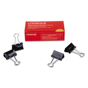 "Universal® Medium Binder Clips, 5/8"" Capacity, 1 1/4"" Wide, Black, 12/Box"