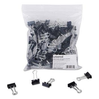 "Universal® Small Binder Clips, Zip-Seal Bag, 3/8"" Capacity, 3/4"" Wide, Black, 144/Bag"