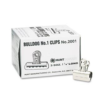 "X-ACTO® Bulldog Clips, Steel, 7/16"" Capacity, 1-1/4""w, Nickel-Plated, 36/Box"