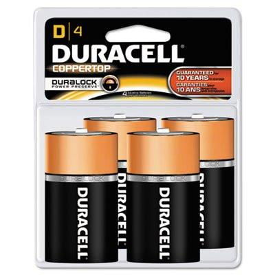 CopperTop Alkaline Batteries with Duralock Power Preserve Technology, D, 4/Pk, Sold as 1 Package, 4 Each per Package