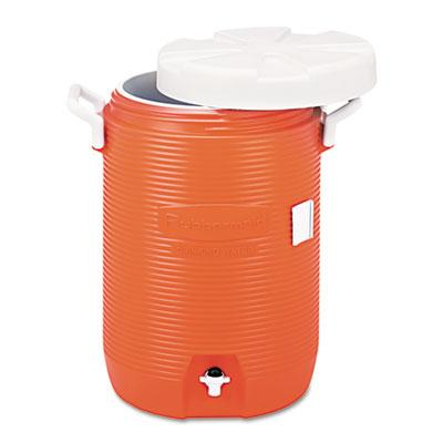 "Rubbermaid® Commercial Insulated Water Cooler, 5 Gal, Orange, 10""Dia x 19 1/2""H, Polyethylene"