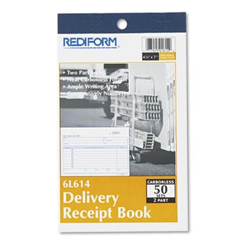 Rediform® Delivery Receipt Book, 6 3/8 x 4 1/4, Two-Part Carbonless, 50 Sets/Book