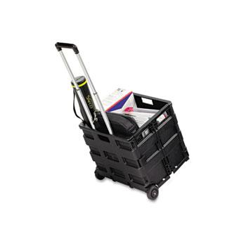 Safco® Stow And Go Rolling Cart, 16-1/2 x 14-1/2 x 39, Black