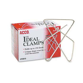"ACCO® Ideal Clamps, Steel Wire, Large, 2-5/8"", Silver, 12/Box"