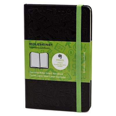 Moleskine® Ruled Evernote Smart Notebook, 5 1/2 x 3 1/2, Black Cover, 192 Sheets