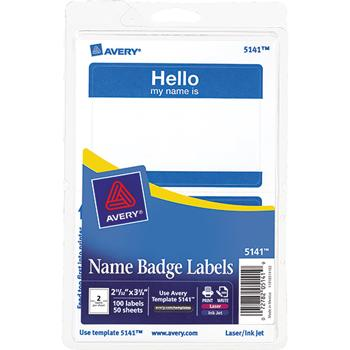 "Avery® Printable Self-Adhesive Name Badges, 2-11/32 x 3-3/8, Blue ""Hello"", 100/Pack"