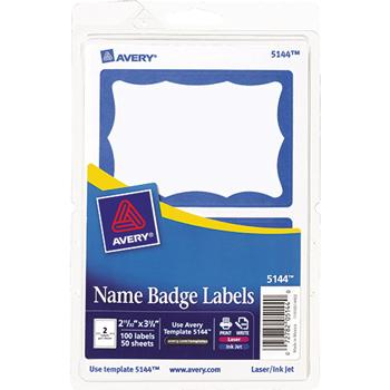 Avery® Printable Self-Adhesive Name Badges, 2-11/32 x 3-3/8, Blue Border, 100/Pack