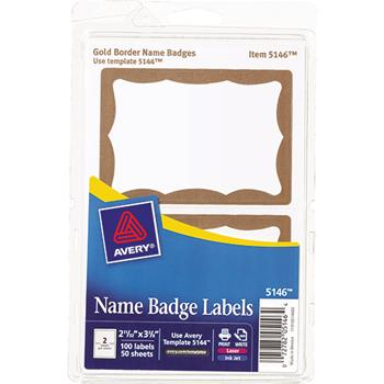 Avery® Printable Self-Adhesive Name Badges, 2-11/32 x 3-3/8, Gold Border, 100/Pack