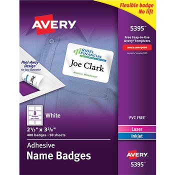 Avery® Flexible Self-Adhesive Laser/Inkjet Name Badge Labels, 2 1/3 x 3 3/8, WE, 400/BX
