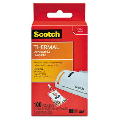 Scotch™ ID Badge Size Thermal Laminating Pouches, 5 mil, 4 1/4 x 2 1/5, 100/Pack
