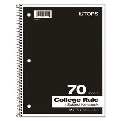 TOPS™ Coil Lock Wirebound Notebooks, College/Medium, 10 1/2 x 8, White, 70 Sheets