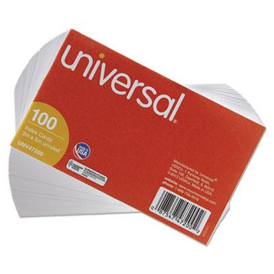 Universal® Unruled Index Cards, 3 x 5, White, 100/Pack