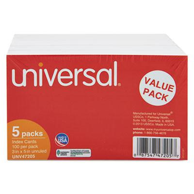 Universal® Unruled Index Cards, 3 x 5, White, 500/Pack