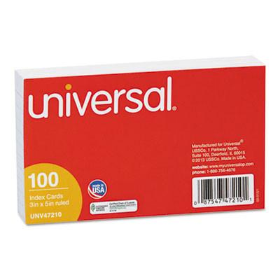 Universal® Ruled Index Cards, 3 x 5, White, 100/Pack