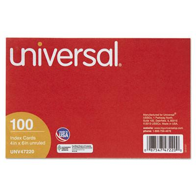 Universal® Unruled Index Cards, 4 x 6, White, 100/Pack