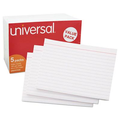 Universal® Ruled Index Cards, 4 x 6, White, 500/Pack