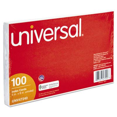 Universal® Unruled Index Cards, 5 x 8, White, 100/Pack