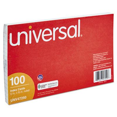 Universal® Ruled Index Cards, 5 x 8, White, 100/Pack