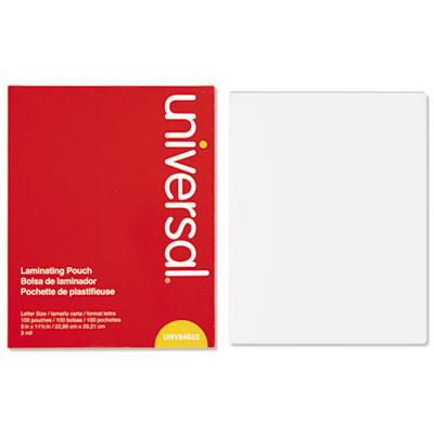 Universal® Clear Laminating Pouches, 3 mil, 9 x 11 1/2, 100/Box