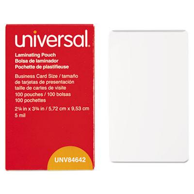 Universal® Clear Laminating Pouches, 5 mil, 2 1/4 X 3 3/4, Business Card Size, 100/Box