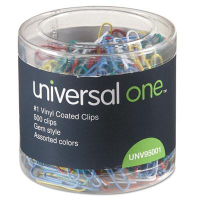 Universal Plastic-Coated Wire Paper Clips 500/Pack