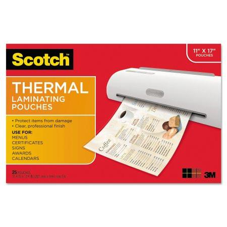 Scotch Laminating Pouches, 3 mil, 17 1/2 x 11 1/2, 25 per Pack