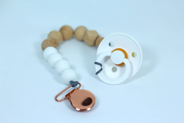 Wood and Silicone Pacifier Clips