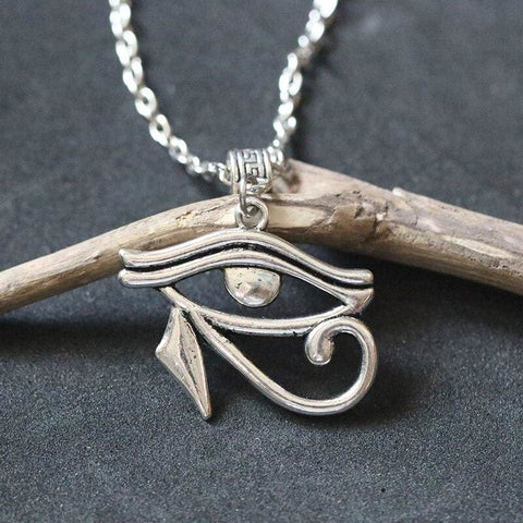 Egyptian Gods Protection Necklaces The Eye of Horus Pendant Necklace Vintage Silver Charms Amulet Choker Collier Bijoux Eternity - 200000162