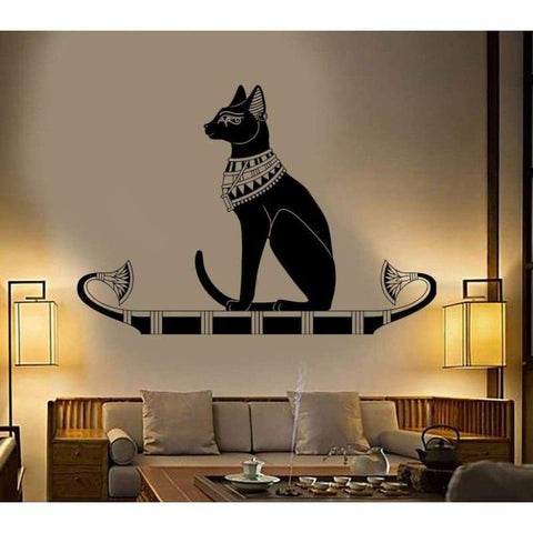 Wall Decoration Animal Wall Decal Stickers Bedroom Decor Ancient Egypt Egyptian Cat Poster Vinyl Art Removeable Mural D542