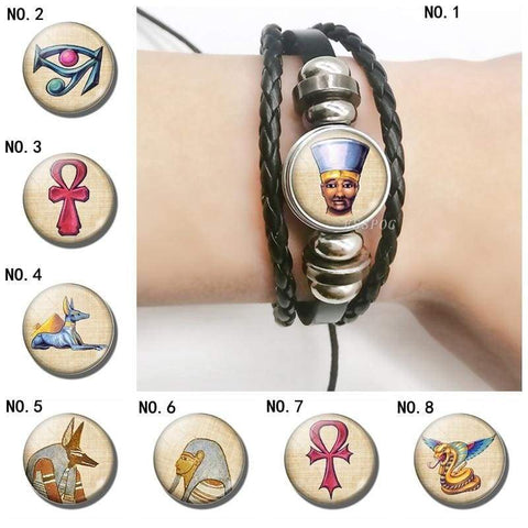 Creative Bracelet Egyptian Pharaoh Black Multi-layered Bracelet Glass Cabochon Ancient Egyptian Cross Bracelet Men Women Gift - 200000147