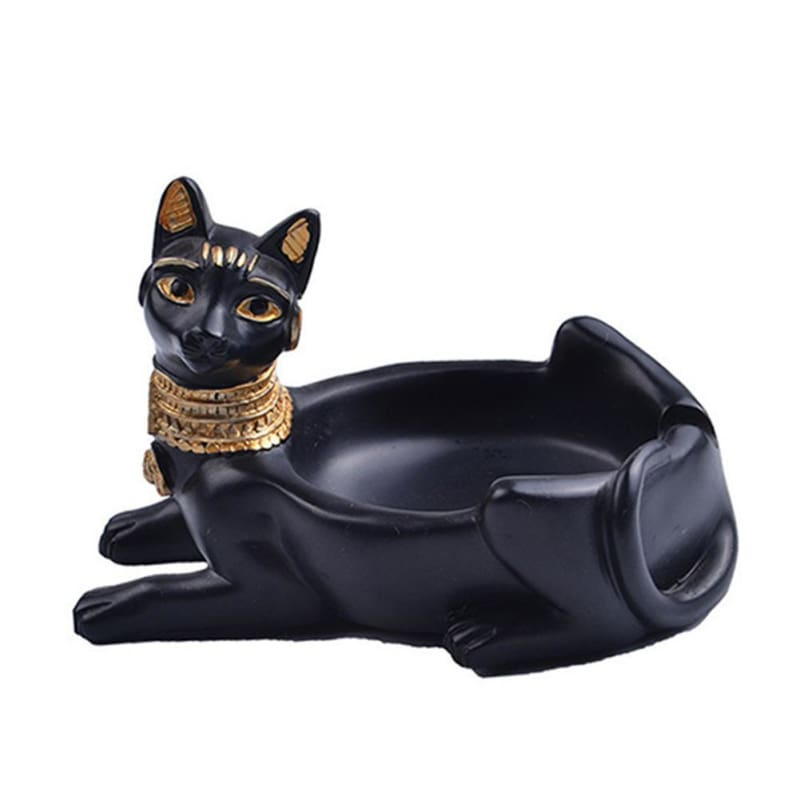 Resin Crafts Egyptian Cat God Ashtray Decoration Cigarette Ashtray Egyptian Bastet Cat Goddess Statue Ornament Tabletop Decor