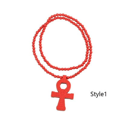Egyptian Power of Life Good Wooden Bead Hip Hop Cross Pendant Charm Necklace Wholesale 6 Colors Mixed Jasw109 Jewelry Necklace - Style1 -