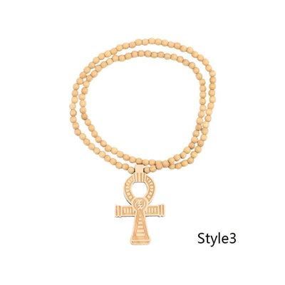 Egyptian Power of Life Good Wooden Bead Hip Hop Cross Pendant Charm Necklace Wholesale 6 Colors Mixed Jasw109 Jewelry Necklace - Style3 -