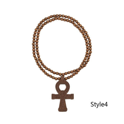 Egyptian Power of Life Good Wooden Bead Hip Hop Cross Pendant Charm Necklace Wholesale 6 Colors Mixed Jasw109 Jewelry Necklace - Style4 -
