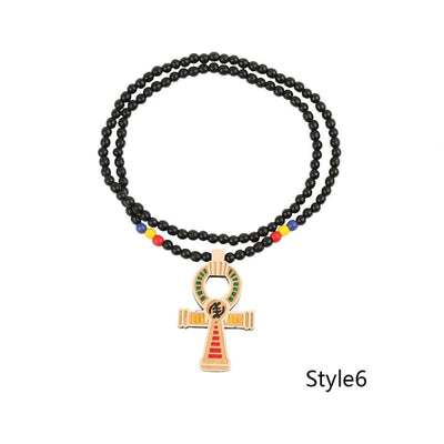 Egyptian Power of Life Good Wooden Bead Hip Hop Cross Pendant Charm Necklace Wholesale 6 Colors Mixed Jasw109 Jewelry Necklace - Style6 -