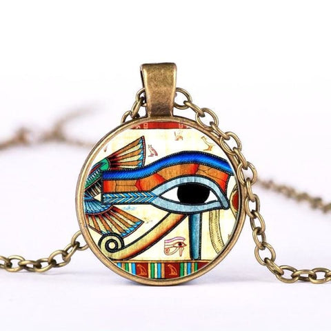 collier egyptien Horus - Bronze Antique - Collier il dHorus