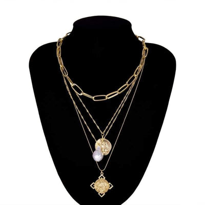 Ingemark Egyptian Rune Coin Faith Choker Necklace Statement Vintage Multi Layer Pearl Pendant Long Chain Necklaces Women Jewelry - 200000162