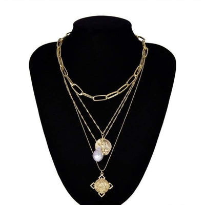 Ingemark Egyptian Rune Coin Faith Choker Necklace Statement Vintage Multi Layer Pearl Pendant Long Chain Necklaces Women Jewelry - Gold